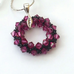 Pink and black swarovski crystal sterling silver pendant