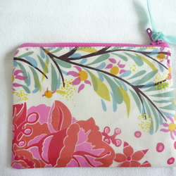 Pink and turquoise coin purse