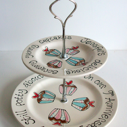 Two Tier Hand painted and Personalised Cake Stand