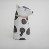 Handmade ceramic Dog ... white with brown patches..woof!