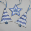 Ceramic Christmas tree decorations in Frosty blue set of 3