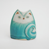 Handmade Cat Vase, Stoneware Pottery Cat in Turquoise