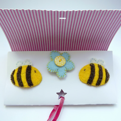 Bee Felt Hairclips