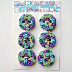 Floral Buttons - Dark Handmade Polymer Clay