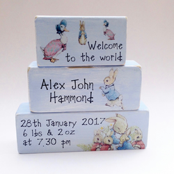 Welcome to the World Beatrix Potter Personalised New Baby Gift Blocks