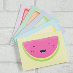 Happy Fruit slice greetings cards - pack of five