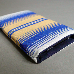 Upcycled blue and yellow deck chair fabric iphone case
