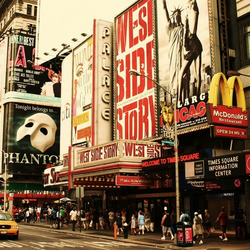 New York Yellow Taxi and Theatre Photograph Print