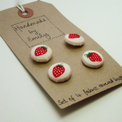 Set of 4 Strawberry Fabric Buttons