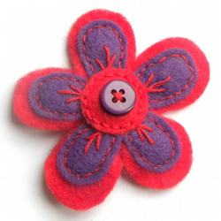 Felt Flower Brooch: Purple/Red