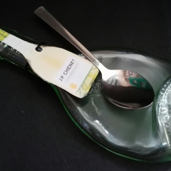 Melted Slumped  Small JP Chenet Wine  Bottle Spoon Rest with Spoon