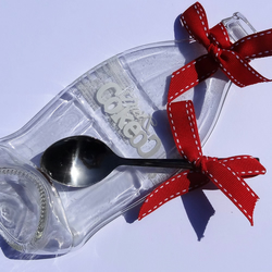 Melted Slumped Diet Coke Bottle Spoon Rest with RIbbon
