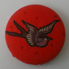 SALE Retro Birdy Fabric Badge