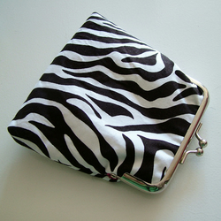 Zebra Animal Print Coin Purse with Hot Pink Lining