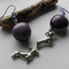 Earrings Purple Dachshunds