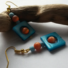 Earrings Turquoise and Orange Delight