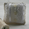 Ivory Pincushion Linen and Lace with Picot Edging