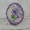 SALE - Purple Flower Embroidered on Patchwork