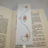 Embroidered Bookmark Daisies and Scrolls - embroidered vintage linen