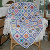 Crocheted Blanket Throw - Lilac,white and multi