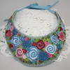 SALE Embroidered Bib Necklace - Blue Roses