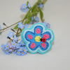 Ladybird Turquoise Flower Brooch - painted and stitched