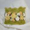 Embroidered and Knitted Cuff - Rose Garland on green mohair lace