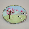 Embroidered Applique Brooch - Spring Sheep and Blossom