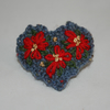 Ponisettia Brooch - Embroidered on a Blue Heart