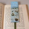 Yellow iris pools bookmark - painted and stitched