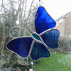 Stained Glass Butterfly Suncatcher - Blue