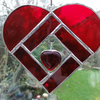 Stained Glass Heart Heart Suncatcher - Red