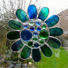 Stained Glass Bead Daisy Suncatcher - Blue Green