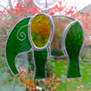 Stained Glass Elephant Suncatcher - Green