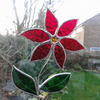 Stained Glass Flower Suncatcher - Red