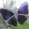 Stained Glass Butterfly Suncatcher - Purple