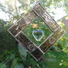Stained Glass Heart Diamond Suncatcher - Pink