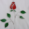 Stained Glass Rose Suncatcher - Red Streaky