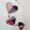 Stained Glass Hearts Suncatcher - Pink and Mauve