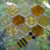 Stained Glass Bee and Honeycomb Suncatcher - Handmade Hanging Decoration