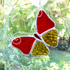 Stained Glass Butterfly Suncatcher - Handmade Decoration - Orange and Amber