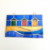 Stained Glass Beach Hut Panel Suncatcher - Handmade Window Decoration