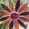 Stained Glass Daisy Suncatcher Handmade Hanging Decoration - Red and Orange
