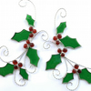 Stained Glass Holly Sprig Suncatcher -TO ORDER - Handmade Window Decoration