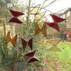 Stained Glass Butterfly Circle - Handmade Hanging  Decoration - Red and Amber