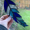 Stained Glass Feather Suncatcher - Handmade Window Decoration - Blue