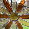 Stained Glass Daisy Suncatcher Handmade Hanging Decoration - Amber