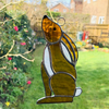 Stained Glass Hare Suncatcher - Handmade Window Decoration -  Amber