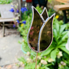 Stained  Glass Lily Tulip Stake Large - Plant Pot Decoration -  Pink