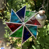 Stained  Glass Windmill Stake Large - Plant Pot Decoration - Turq Red Green Indi